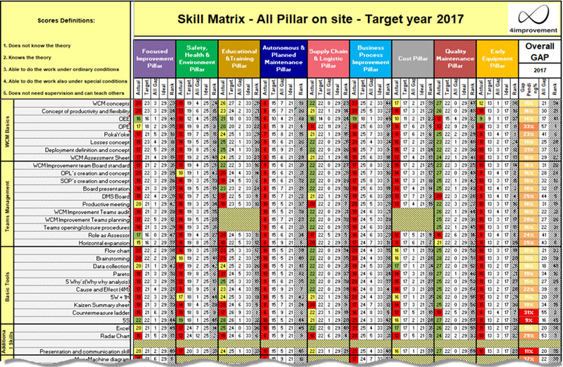 WCM TPM Skill Matrix dashboard