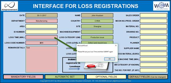 Interface for Loss Management Tool. The user interface has a number of mandatory fields in order to secure data consistency...